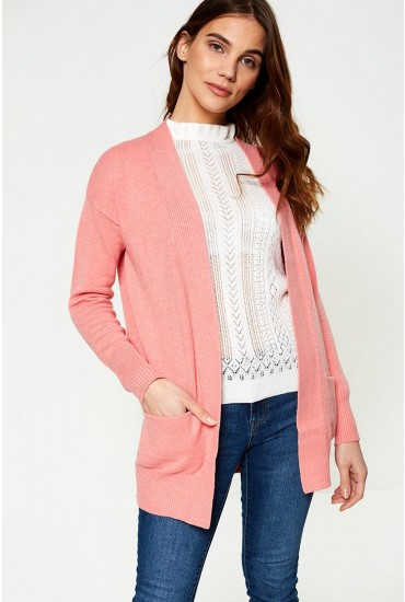 Nona Long Sleeve Cardigan in Coral