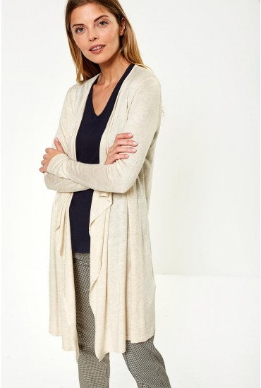 Mary Long Sleeve Cardigan in Beige