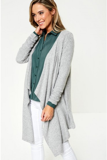 Tammi Long Sleeve Cardigan in Light Grey