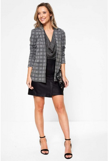 Caroline Long Sleeve Check Print Blazer in Dark Grey