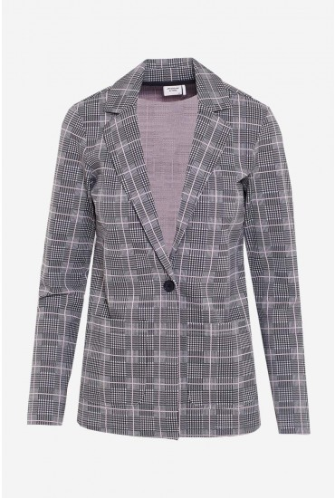 Caroline Long Sleeve Check Print Blazer in Light Grey