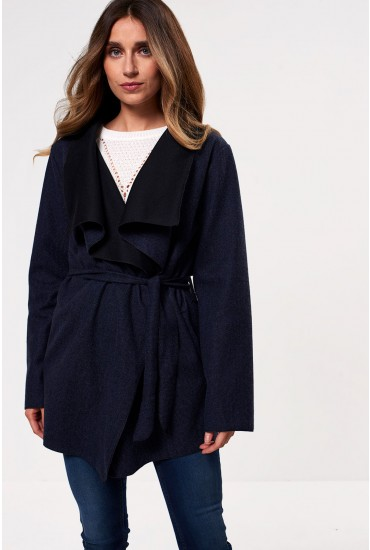 Martha Long Sleeve Coatigan in Navy