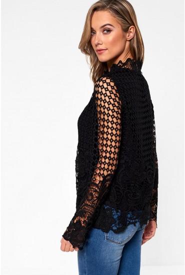 Mariosa Long Sleeve Crochet Top in Black