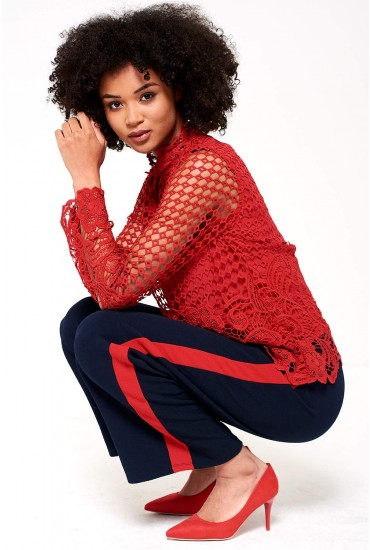 Mariosa Long Sleeve Crochet Top in Red