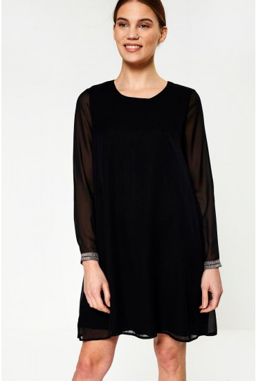 Sharon Long Sleeve Dress in Black