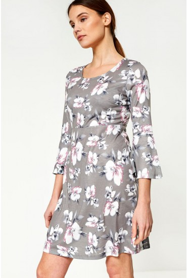 Elaine Long Sleeve Dress in Floral Print