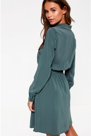 Laia Long Sleeve Dress in Olive