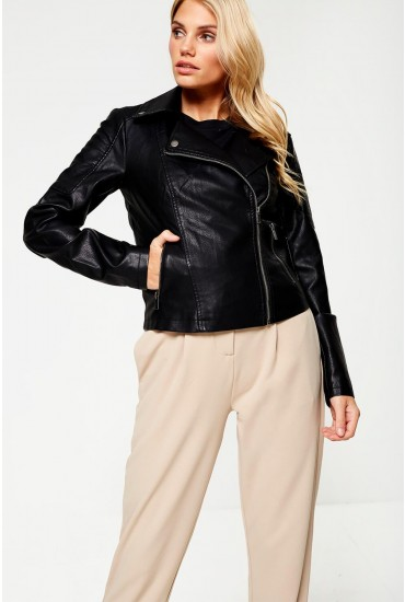 Rebel Long Sleeve Faux Leather Jacket in Black