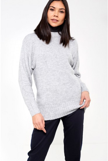Abby Long Sleeve Glitter Knit in Grey