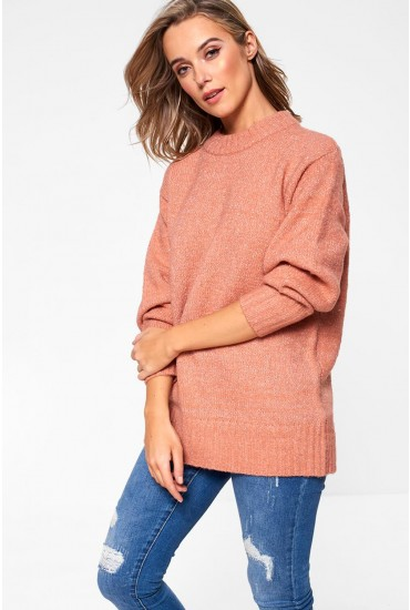 Abby Long Sleeve Glitter Knit in Rose