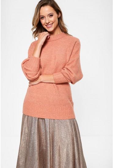 Abby Long Sleeve Glitter Knit in Rose