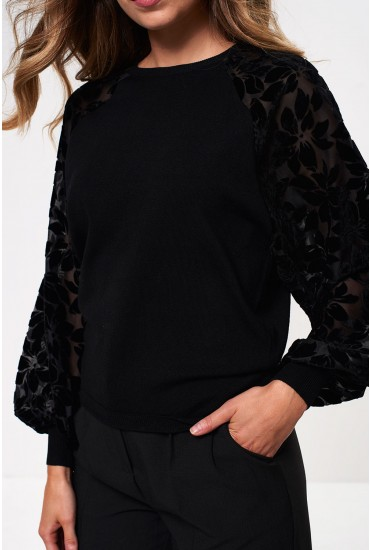 Rosy Long Sleeve Jumper in Black