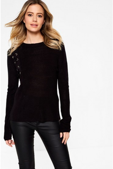 Lulu Long Sleeve Jumper in Black