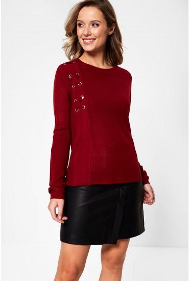 Lulu Long Sleeve Jumper in Red