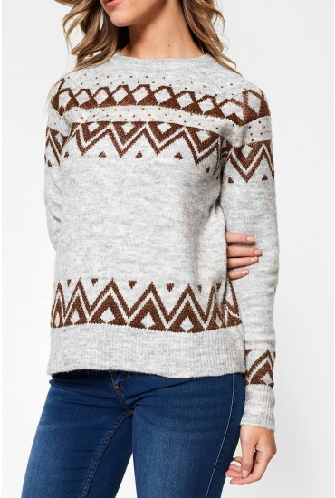 Carin Ginger Long Sleeve Knit in Grey