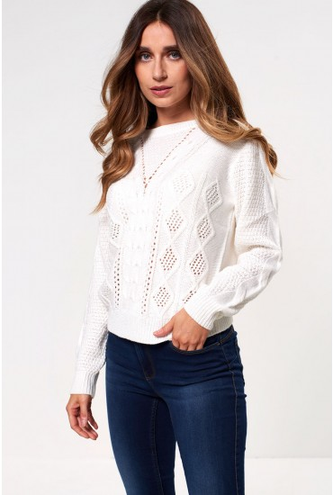 Dream Long Sleeve Knit Jumper in Off White
