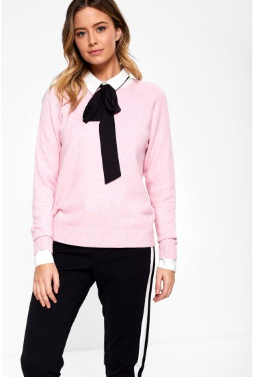 Lesly Long Sleeve Knit Jumper in Baby Pink
