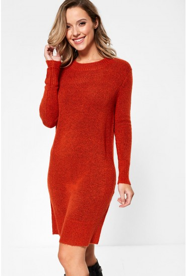 Gold Long Sleeve Knit Jumper Dress in Burnt Orange