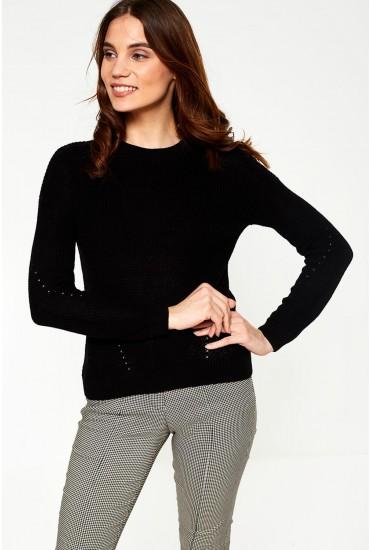 Sian Long Sleeve Knit Jumper in Black