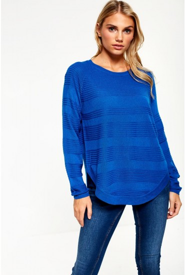 Caviar Long Sleeve Knit Jumper in Blue