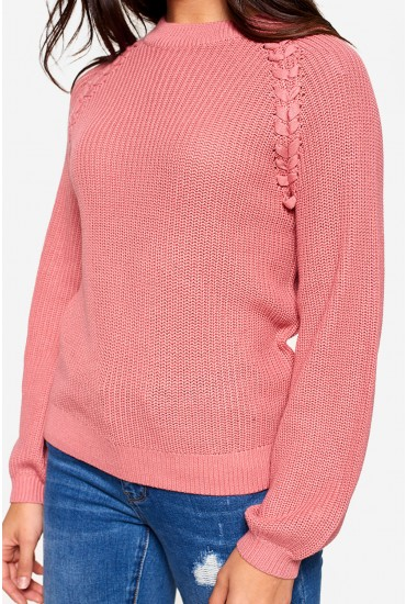 Embrace Long Sleeve Knit Jumper in Blush