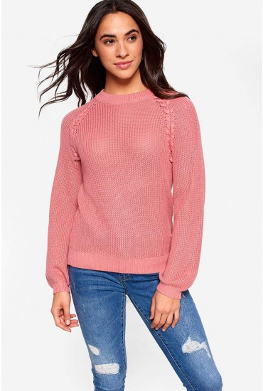 Embrace Long Sleeve Knit Jumper in Blush