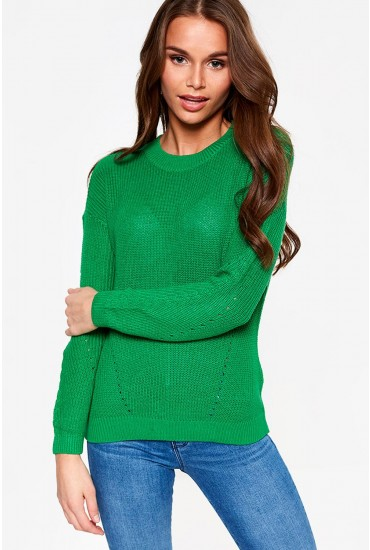 Sian Long Sleeve Knit Jumper in Green