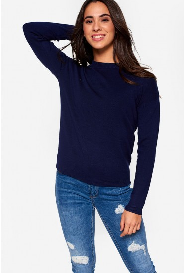 Lisa Long Sleeve Knit Jumper in Navy