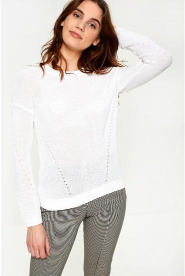 Sian Long Sleeve Knit Jumper in White