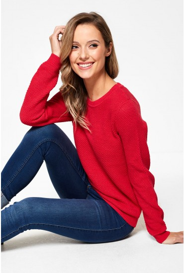 Chassa Long Sleeve Knit Top in Red