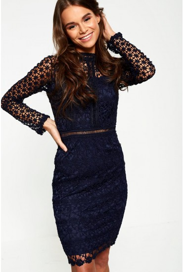 Giuliana Long Sleeve Lace Dress in Navy