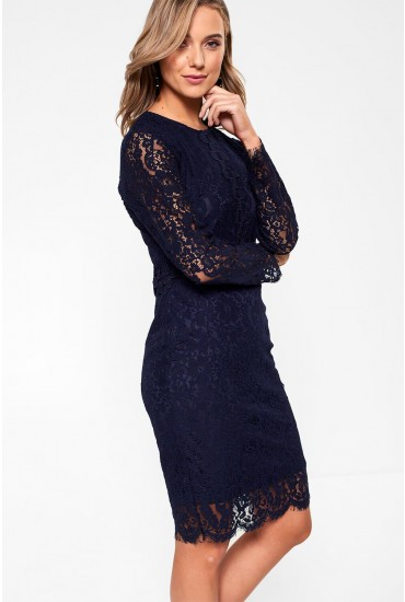Katie Long Sleeve Lace Dress in Navy