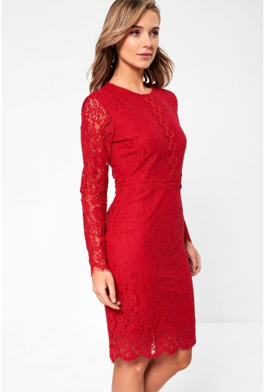 Katie Long Sleeve Lace Dress in Red