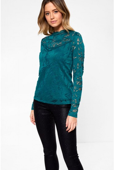 Stasia Long Sleeve Lace Top in Teal