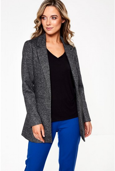 Reka Long Sleeve Long Blazer in Dark Grey