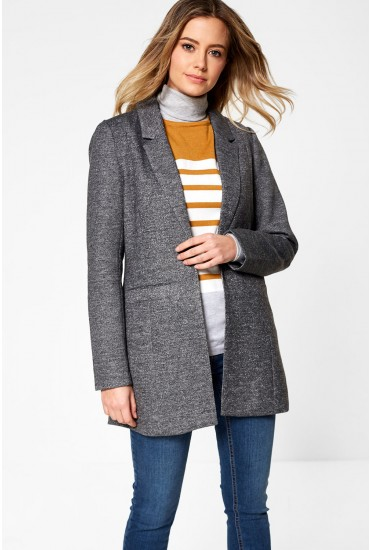 Reka Long Sleeve Long Blazer in Dark Grey