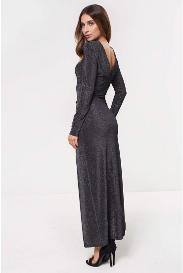 Ibbo Long Sleeve Maxi Dress in Silver Glitter