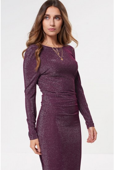 Ibbo Long Sleeve Maxi Dress in Plum Glitter