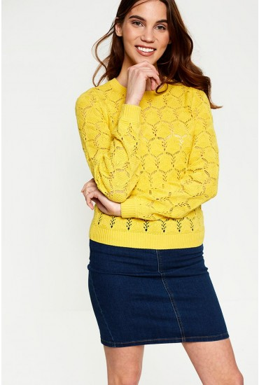 Carrie Long Sleeve Open Stitch  Jumper in Yellow