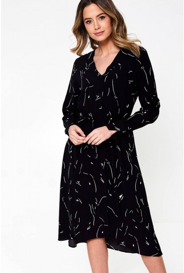 Gianna Long Sleeve Printed Dress in Black