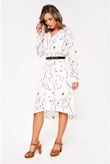 Gianna Long Sleeve Printed Dress in Off White