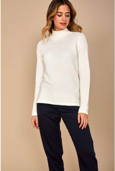 Jenna Long Sleeve Ribbed Jumper in White