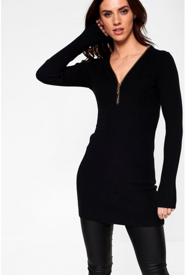 Pamela Long Sleeve Ribbed Top in Black