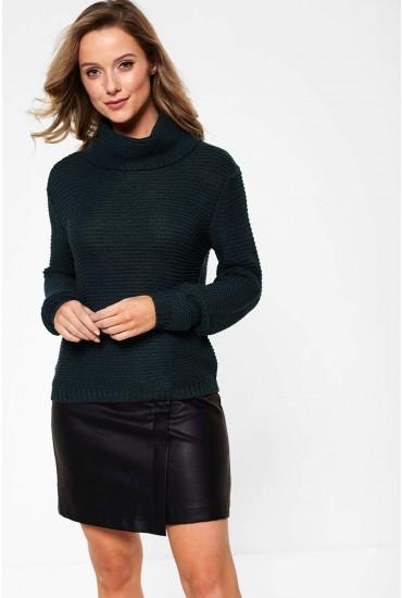Baskina Long Sleeve Roll Neck Pullover in Pine