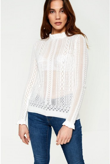 Astia Long Sleeve Ruffle Neck Jumper in White