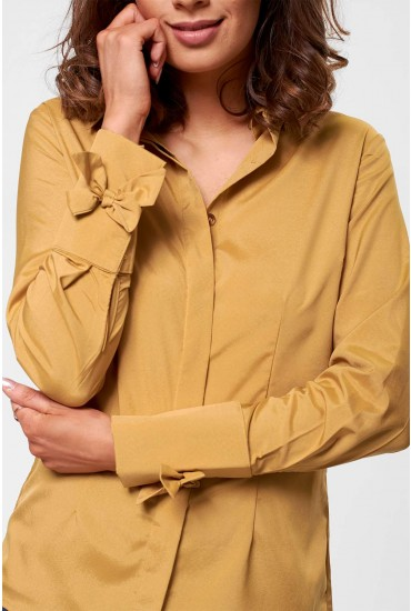 Claire Long Sleeve Shirt with Bow Detail in Mustard