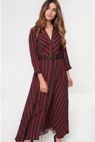 Savanna Long Sleeve Shirt Dress in Navy Stripe