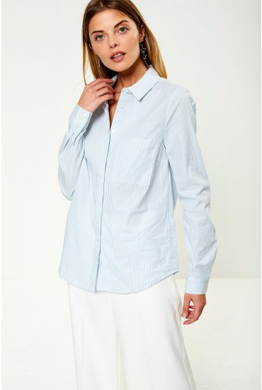 Chau Long Sleeve Shirt in Blue Stripe