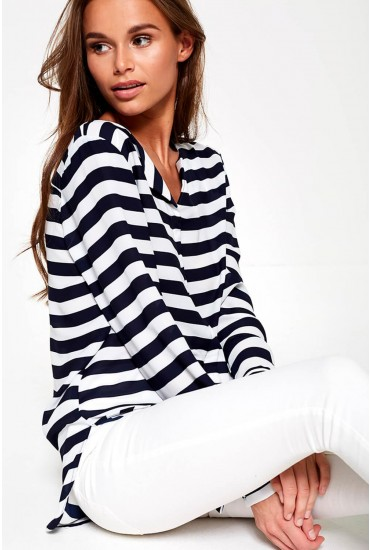Lucy Long Sleeve Shirt in Navy Stripe