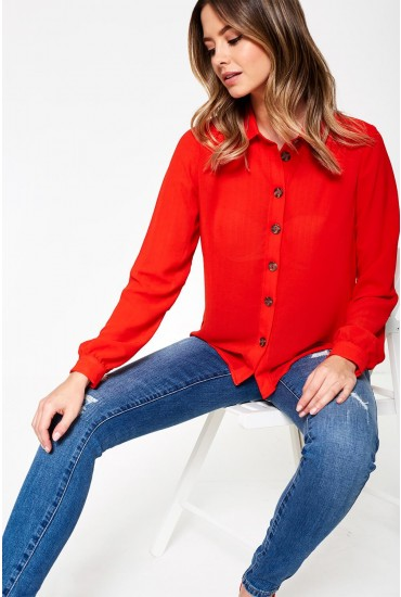 Cilvia Long Sleeve Shirt in Red
